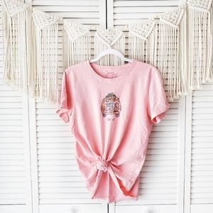 Life Is Good Pink Bus Get Out Graphic Tee Sz L